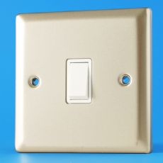 Varilight 1 Gang Intermediate 10A Rocker Light Switch Satin Chrome White Insert XN7W